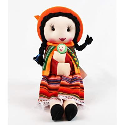 "#4088 Peruvian Traditional Dressed Doll 9"" Artisan Made Fair Trade Rag Costume: Toys & Games"