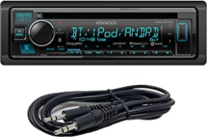 Kenwood KDC-BT33+AUX1 Single DIN SiriusXM Ready Bluetooth in-Dash CD/Am/FM Car Stereo Receiver W/Pandora, Spotify Control + Emb 3.5mm Aux Cable