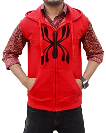Red Spider Hoodie Costume - Sleeveless Red Hoodie for Adults