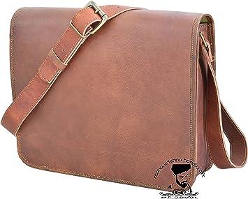 RKH 15 inch Vintage Crossbody Genuine Leather Laptop Messenger Bag