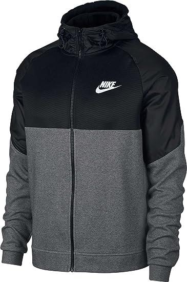 0179cf59d44e Nike Herren Sportswear Advance 15 Hoodie Fz Ssnl Kapuzenpullover, Charcoal  Heathr Black White