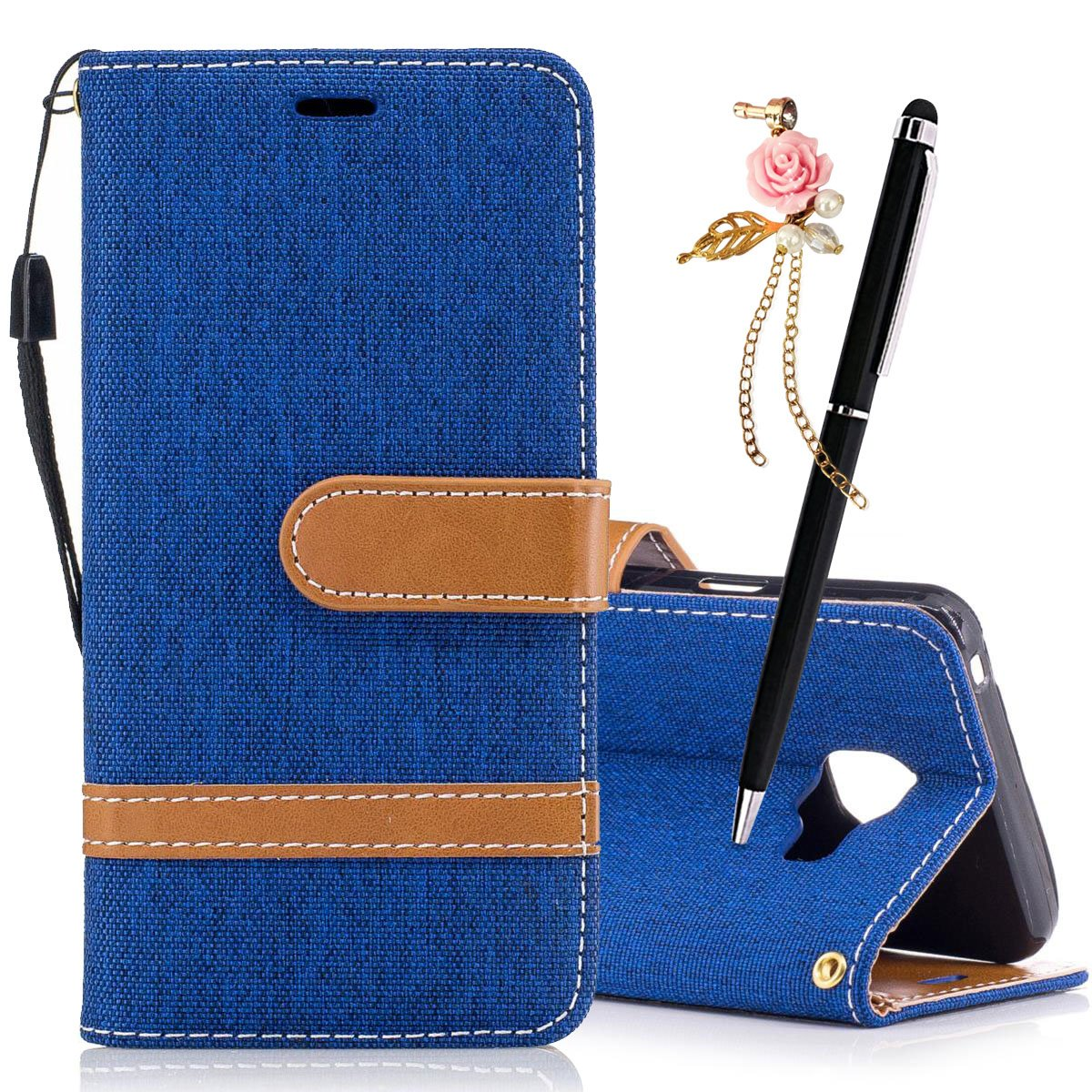 MEETER Coque PU Cuir pour Samsung Galaxy A3 2016 Etui Pochette Portable Flip Wallet Housse Mode Bookstyle Case Porte Carte Cas Back Cover Souple Fonction Stand Spécial Magnetique Dustproof Protective Fente de Carte - Bleu foncé