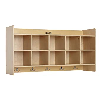 ECR4Kids madera de abedul 10-SECTION perchero de pared de ...
