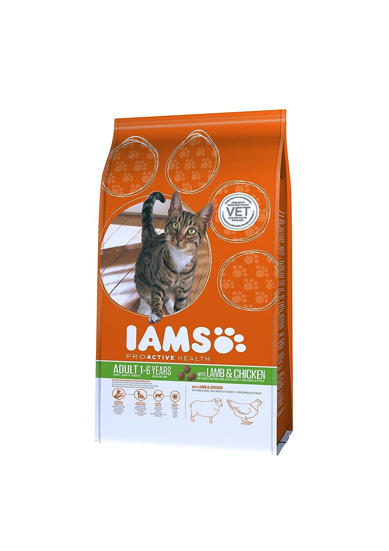 IAMS - Croquettes Premium pour Chats adultes Enrichies en Prébiotiques - Alimentation Complète et Equilibrée - Riches en agneau et Poulet Roti - 15 kg 81409371
