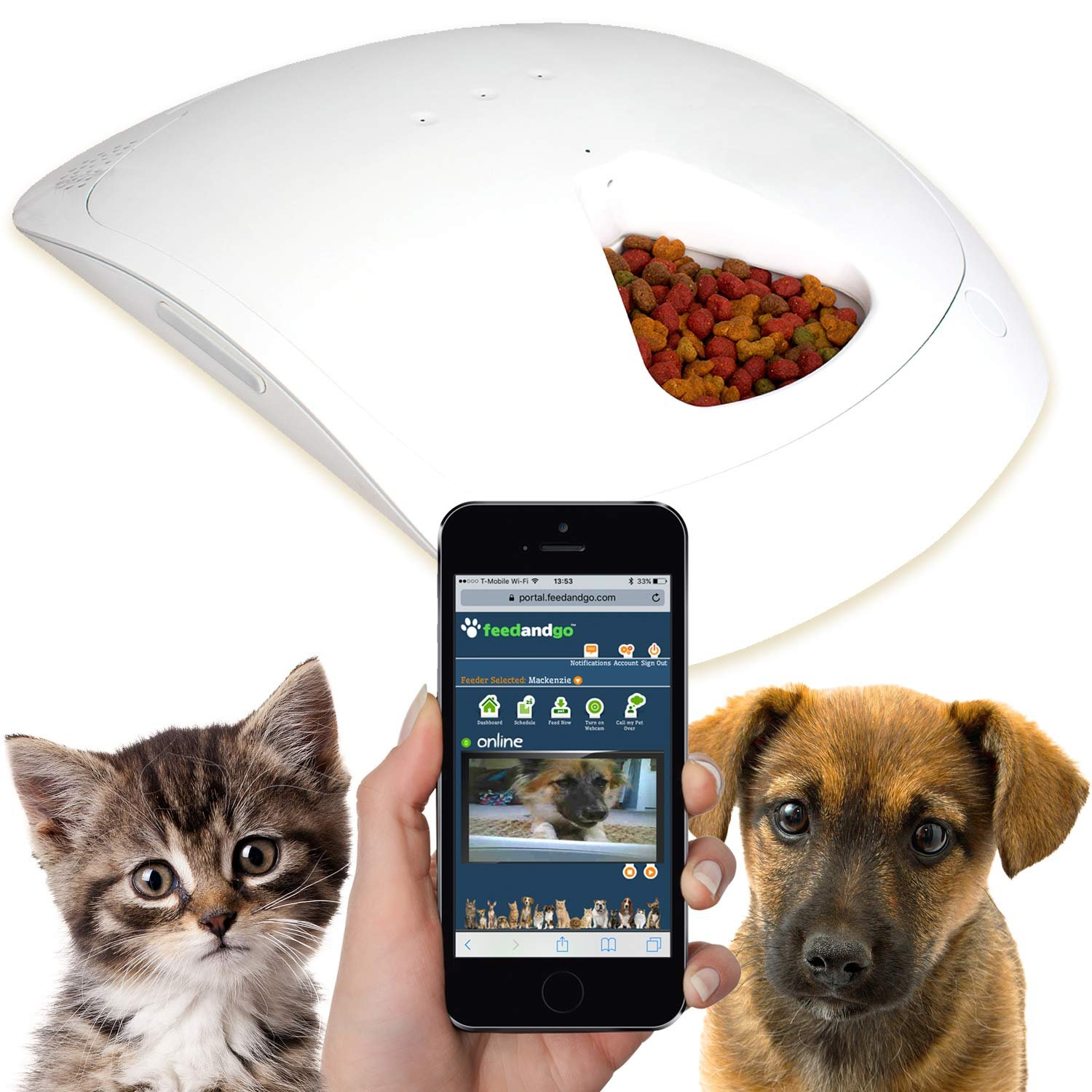 Feed and Go Smart Pet Feeder with Webcam & Wi-Fi