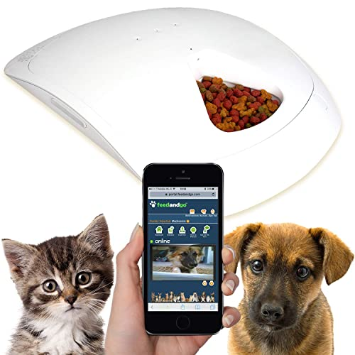 "Feed and Go Smart Pet Feeder. Automatic Pet Feeder For Dogs and Cats, Built In Webcam & Wi-Fi, Great For Wet/Dry Food Treats & Medication, Compatible With iOS/Android, 18"" L x 16"" W x 3"" H"