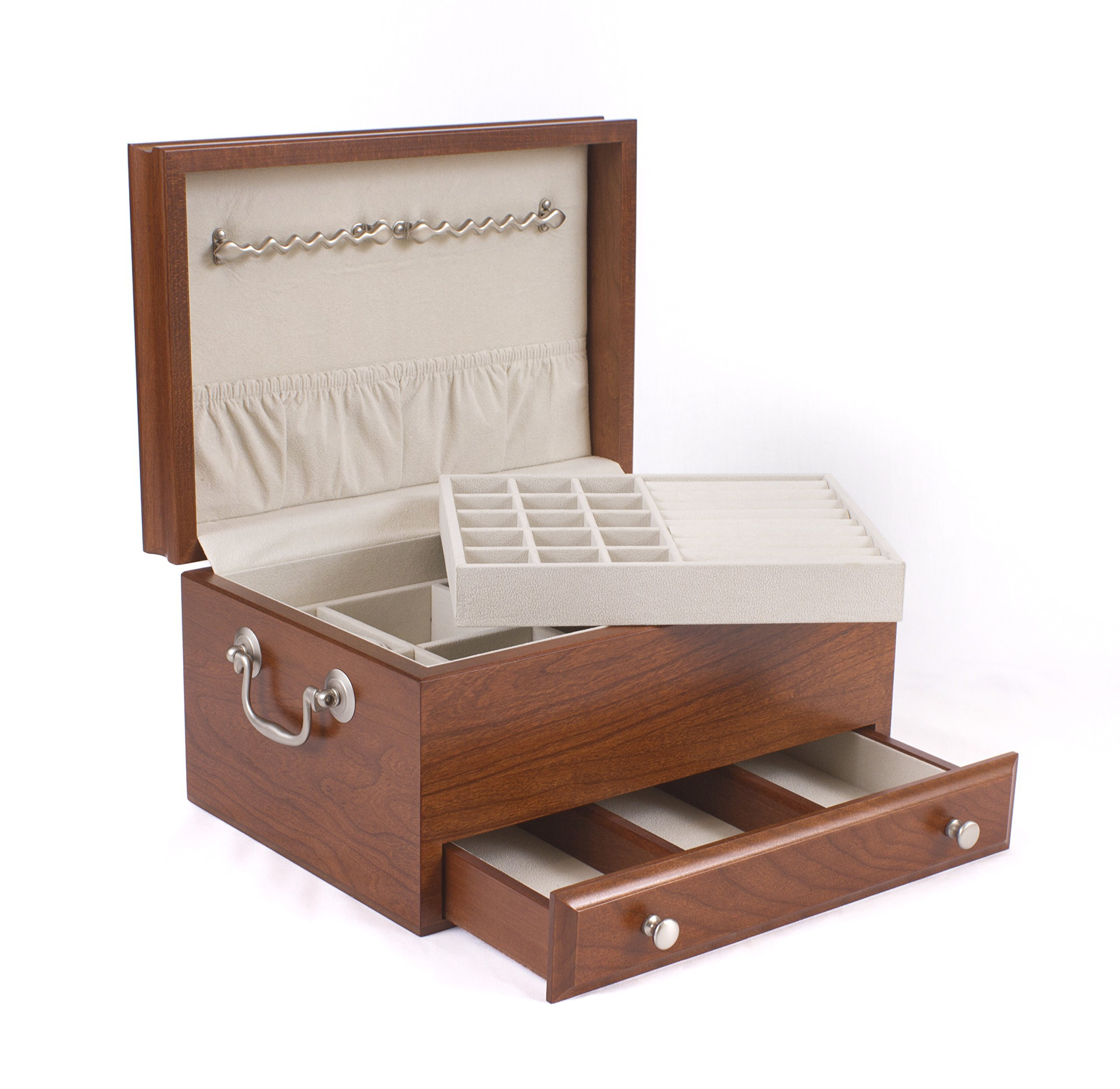 American Chest #J11C CONTESSA 1-Drawer Solid Cherry Jewel Chest with Lift-Out Tray; MADE in USA by American Chest