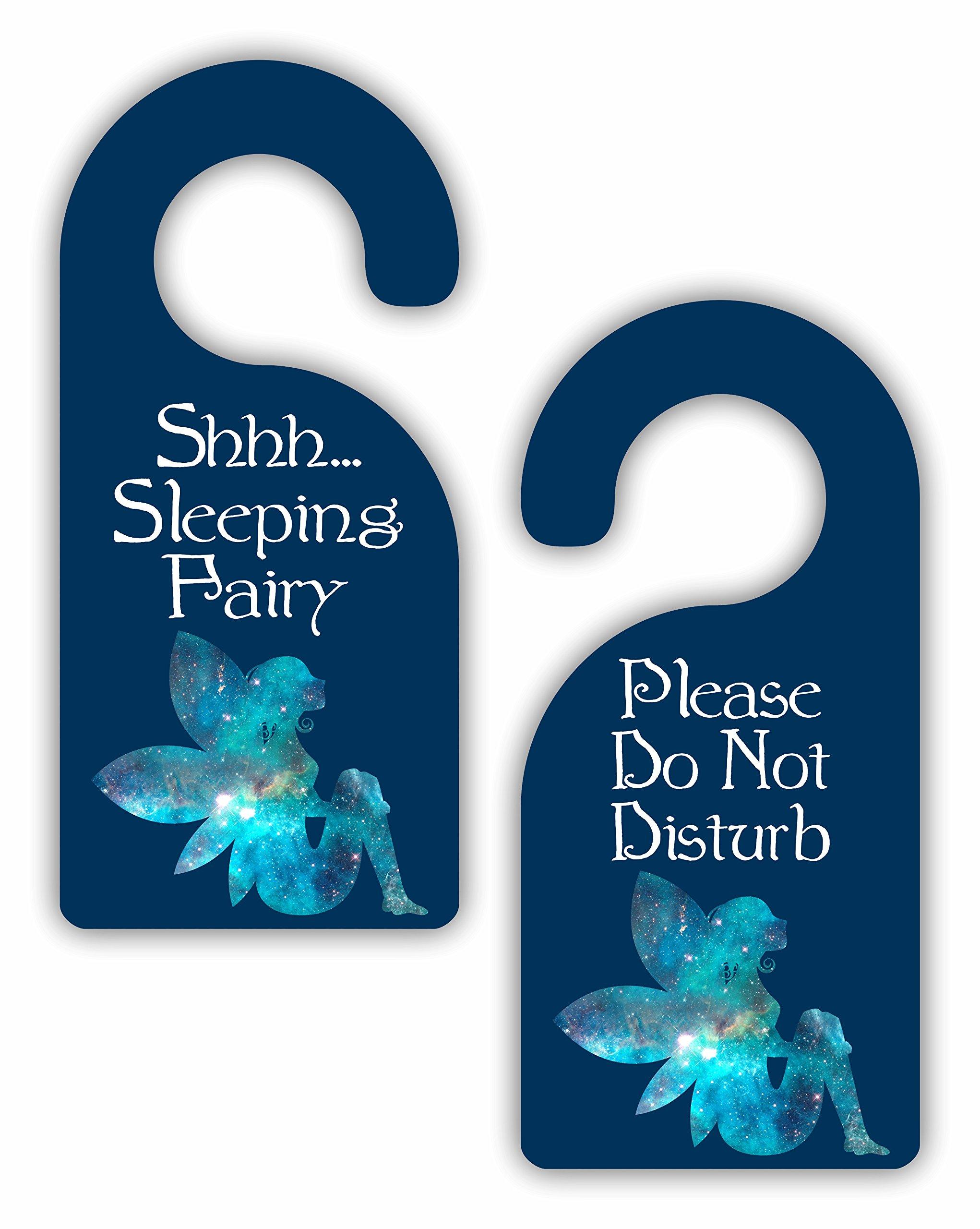 Sleeping Fairy - Novelty - Girls Room Door Sign Hanger - Double Sided - Hard Plastic - Glossy Finish