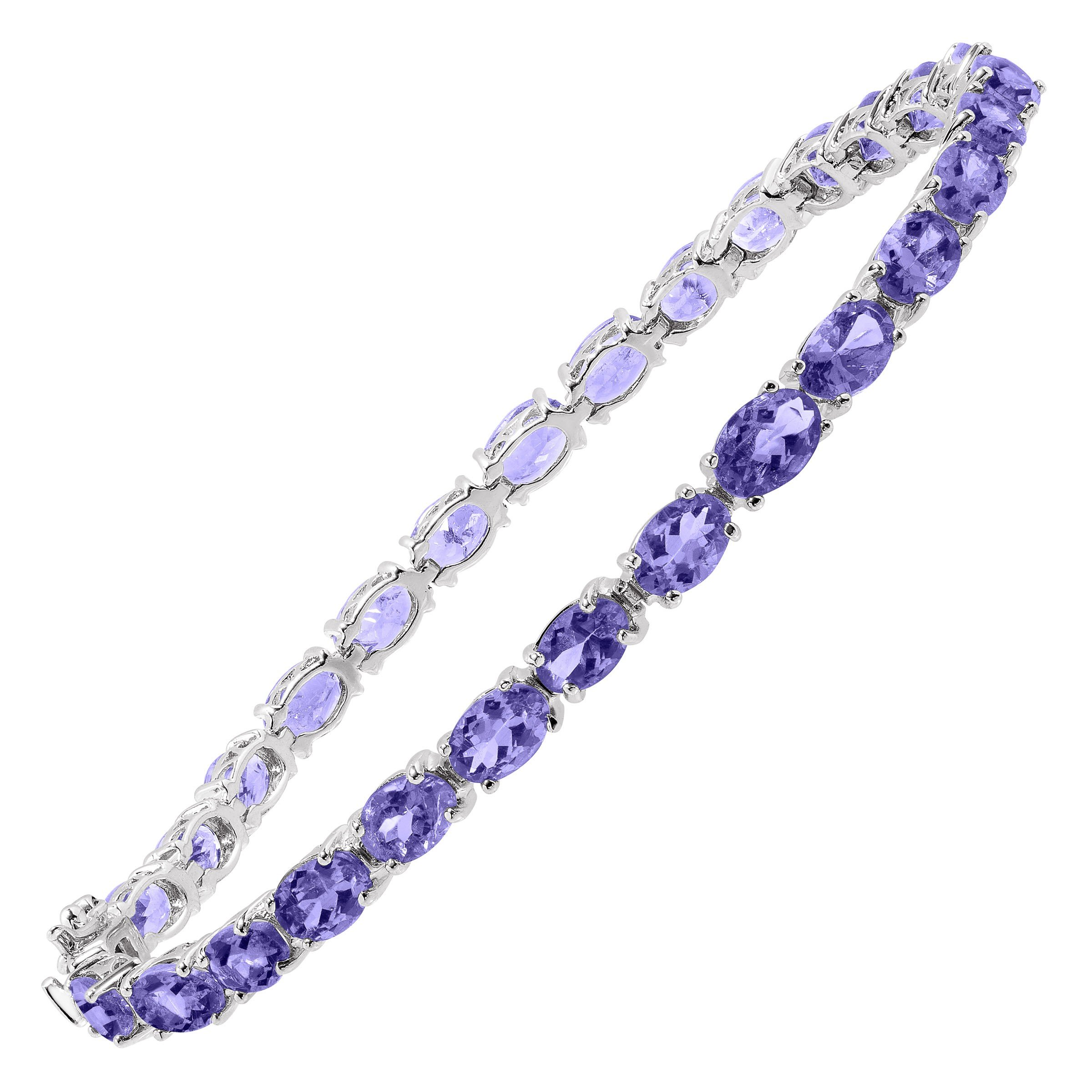 13 ct Natural Tanzanite Tennis Bracelet in Sterling Silver, 7.5''