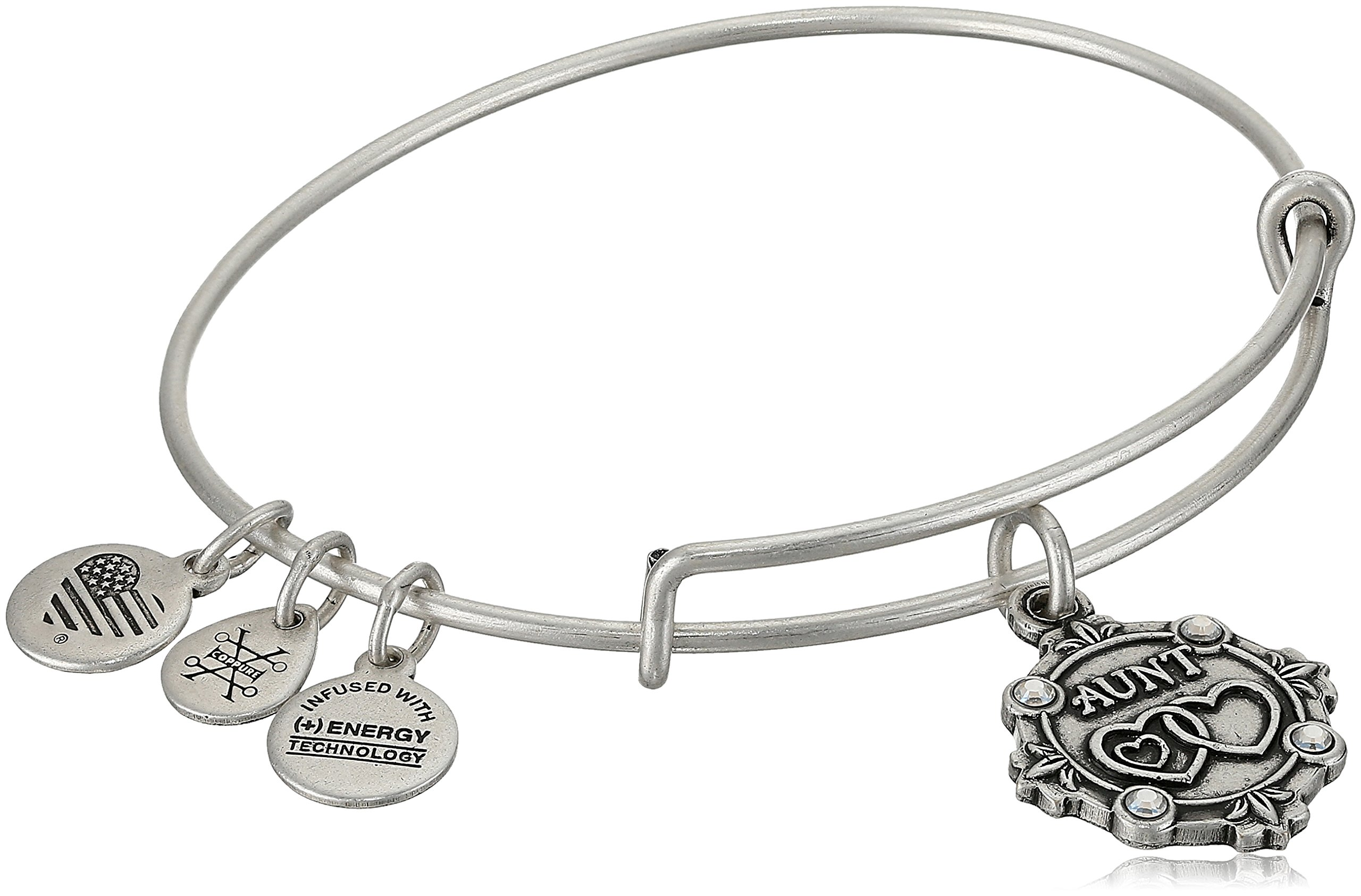 Alex and Ani Womens Because I Love You, Aunt Charm Bangle Bracelet, Rafaelian Silver, Expandable by Alex and Ani