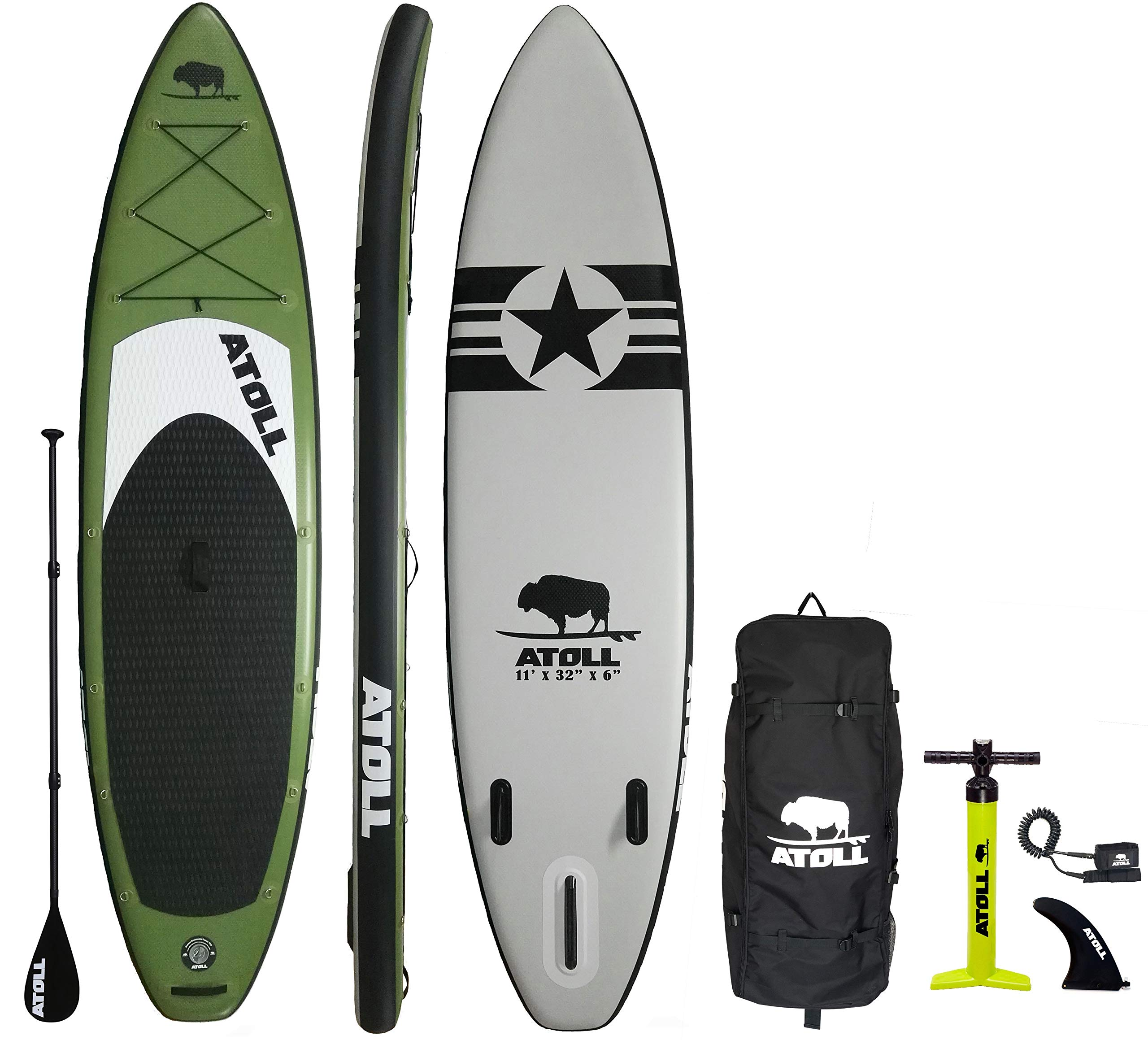 Atoll 11'0'' Foot Inflatable Stand Up Paddle Board, (6 Inches Thick, 32 inches Wide) ISUP, Bravo Hand Pump and 3 Piece Paddle, Travel Backpack New Paddle Leash Included (Green)