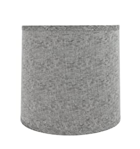 "Aspen Creative 32502 Transitional Drum (Cylinder) Shaped Spider Construction Lamp Shade in Grey, 13"" Wide (12"" x 13"" x 12"")"