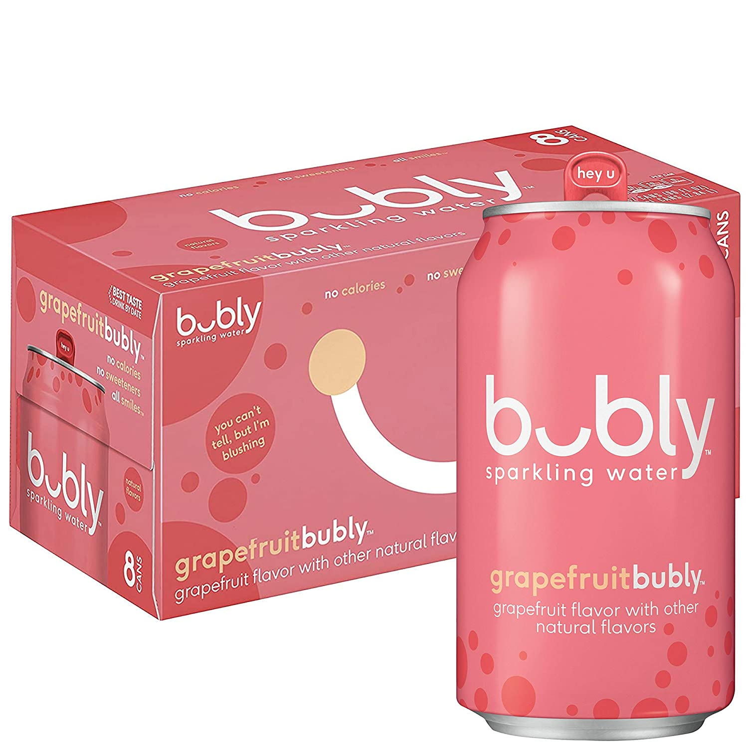 Bubly Sparkling Water, Grapefruit, 12 Fl Oz (pack of 8)