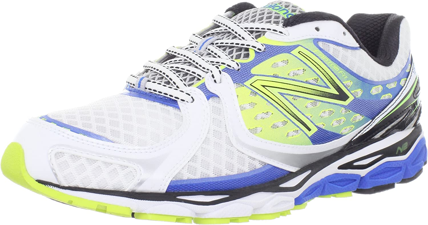 New Balance M1080, Zapatillas de Running para Hombre, White with Blue Atoll & Yellow, 11.5 EU: Amazon.es: Zapatos y complementos