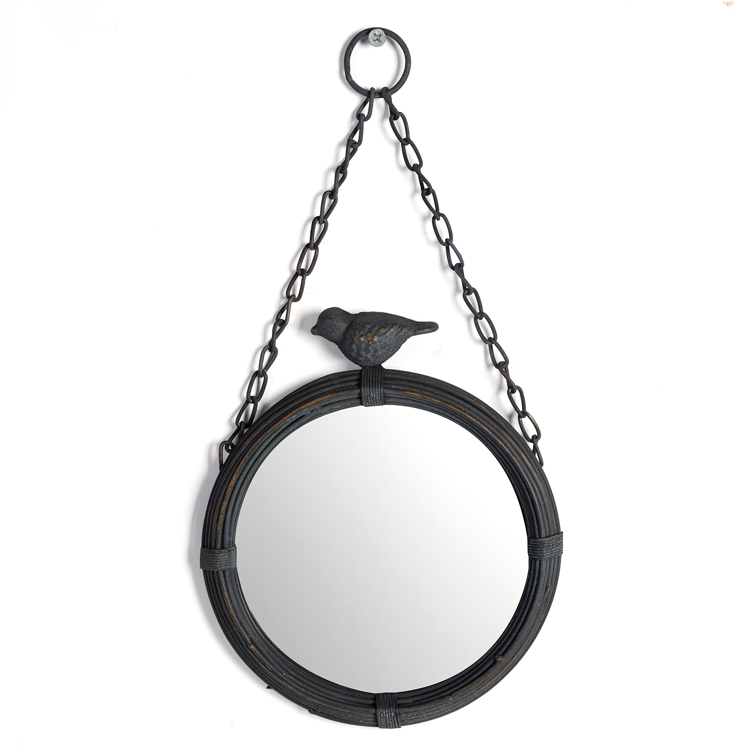 NIKKY HOME Shabby Chic Metal Wall Hanging Round Mirror with Sparrow, Matt Black