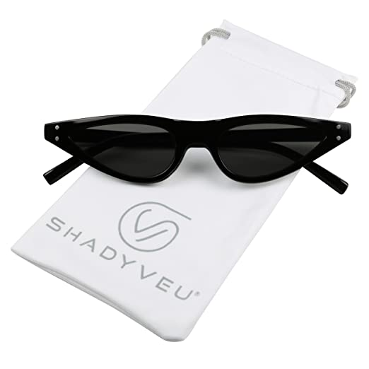 e053701cde Amazon.com  ShadyVEU - Ultra Small Thin Cat Eye Retro Vintage Shades Narrow  Pointy Mod Chic Sunglasses (Black