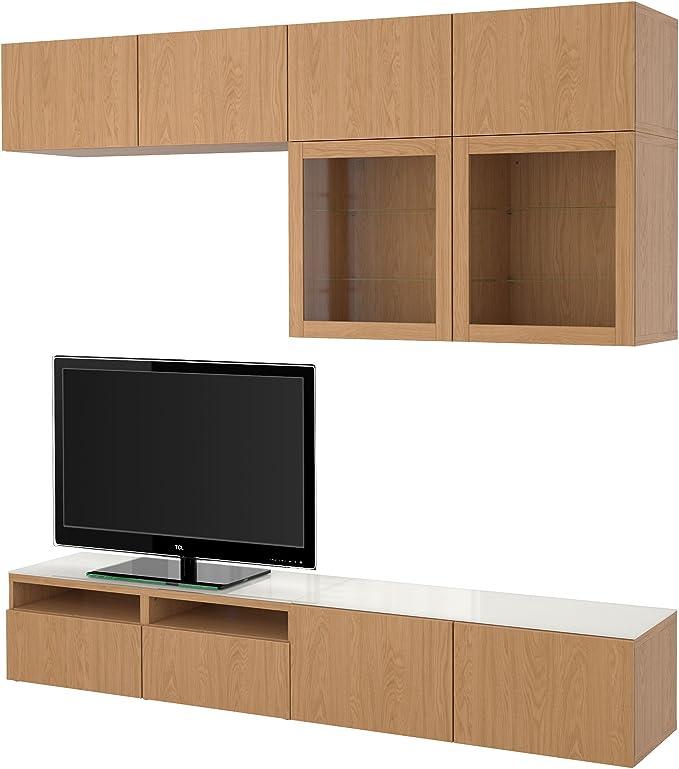 Zigzag Trading Ltd IKEA BESTA - combinación de almacenaje de la TV/Puertas de Cristal de Vidrio Transparente Lappviken/Efecto Roble sindvik: Amazon.es: Hogar
