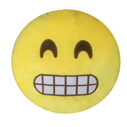 Amazoncom Lihi Emoji Cushion Smile Yellow Round Emoticon Pillow
