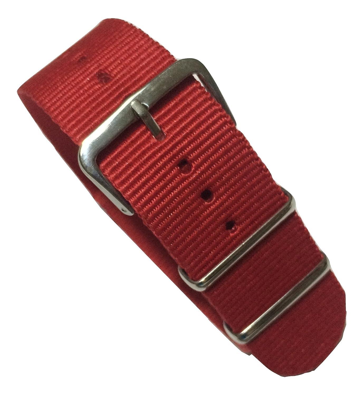 trendyluz Watchバンド:選択色と幅( 20 mmまたは22 mm、ナイロンバンドストラップwith 4スプリングバー B01EWA64GC 22 mm|レッド レッド 22 mm