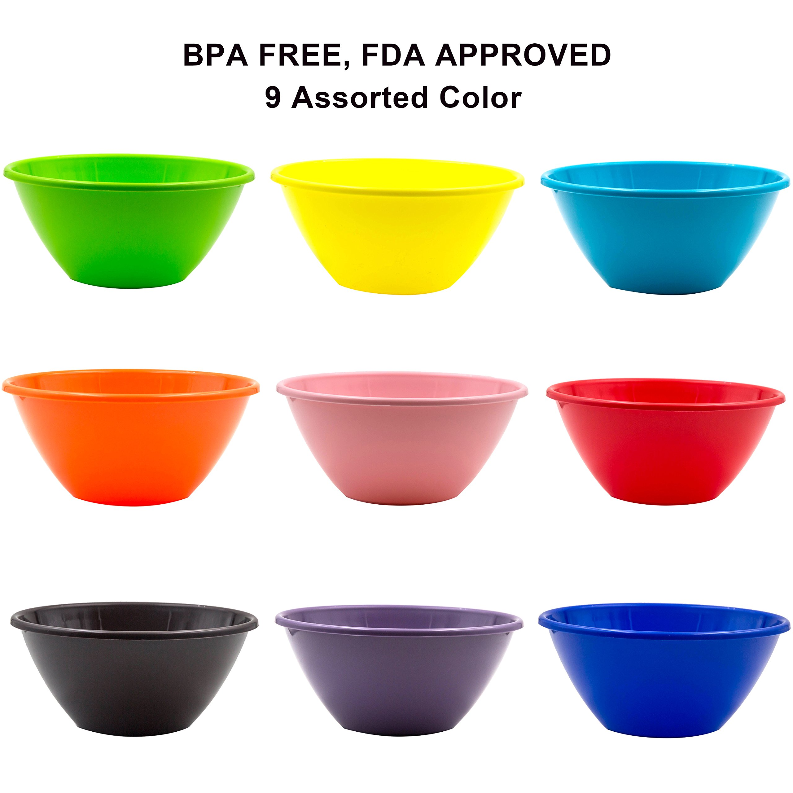 Youngever 32 ounce Plastic Bowls, Large Cereal Bowls, Large Soup Bowls, Microwave Safe, Dishwasher Safe, Set of 9 in 9 Assorted Colors by Youngever (Image #2)