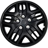 TuningPros WSC-025B15 Hubcaps Wheel Skin Cover 15-Inches Matte Black Set of 4