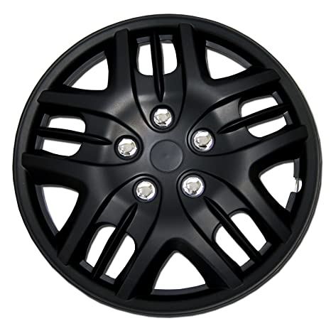 Amazon.com: TuningPros WSC-025B15 Hubcaps Wheel Skin Cover 15-Inches Matte Black Set of 4: Automotive