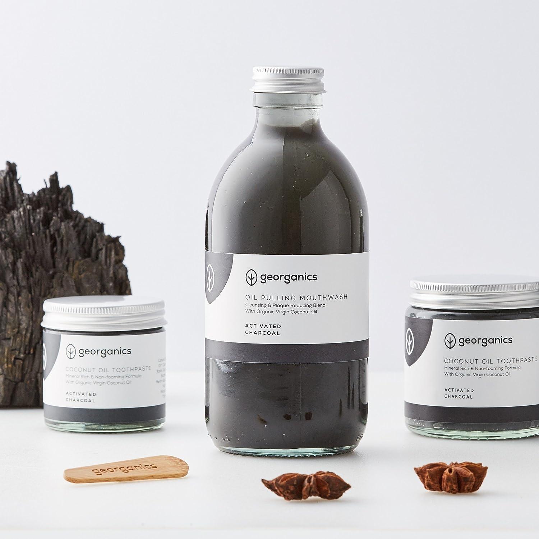 georganics naturales pasta de dientes y aceite de coco tirar enjuague bucal Set - carbón activado: Amazon.es: Salud y cuidado personal