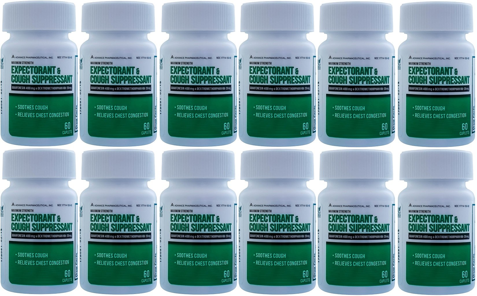 Mucus DM Expectorant Cough Suppressant 720 Caplets Generic DM Cough by Advance Pharmaceutical