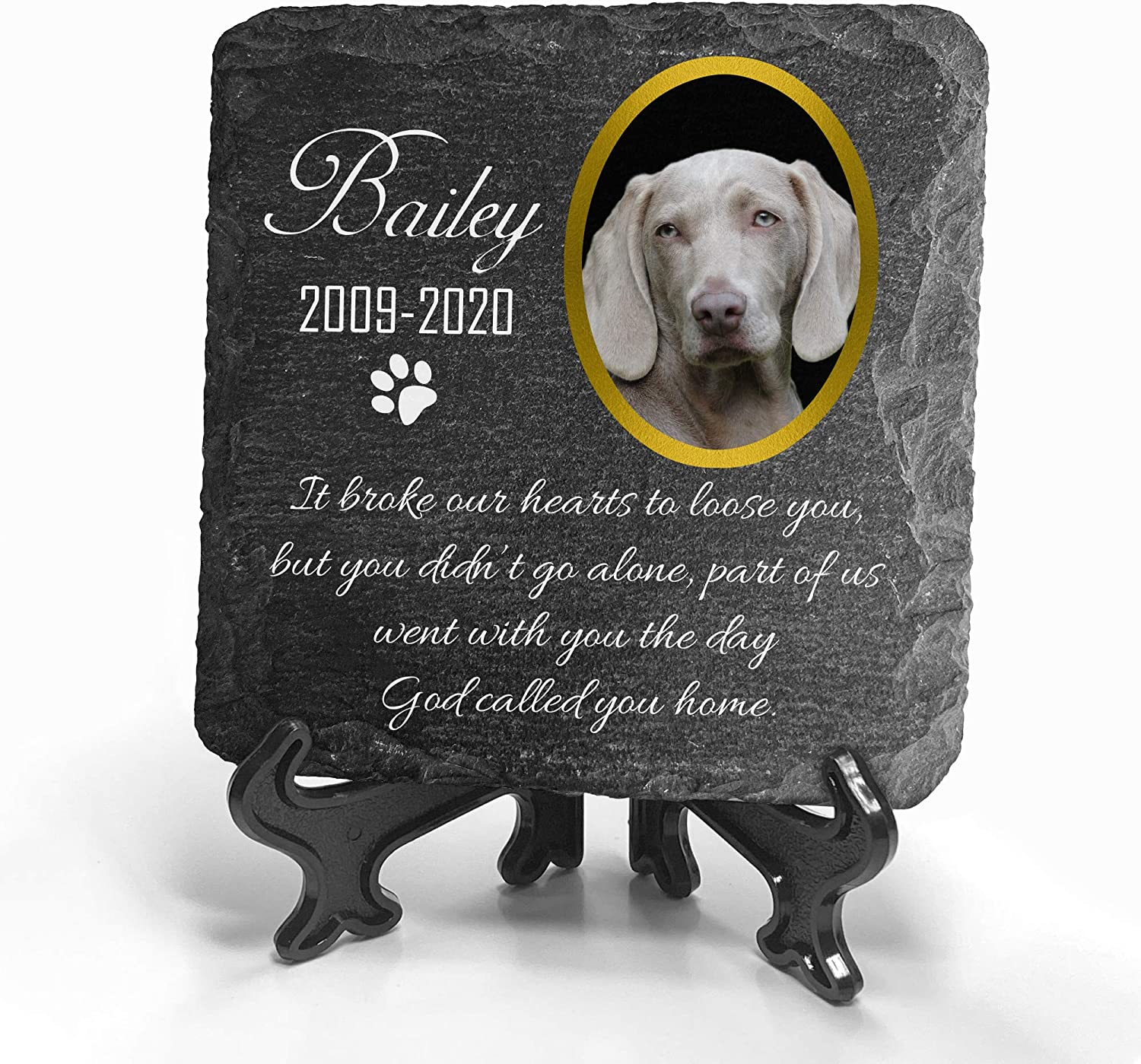 Pet Memorial Natural Stone Color Slate Memorial Free Shipping Includes Free Stand