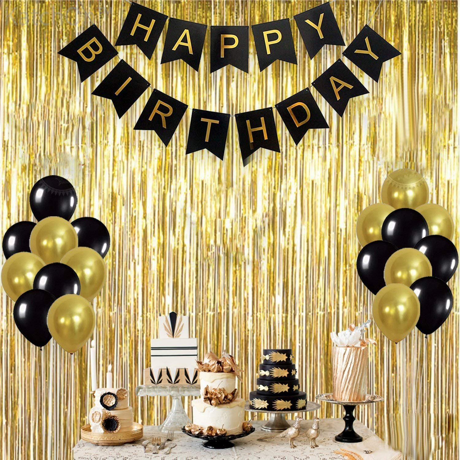Oisee Birthday Party Decorations Set Black Gold Background Party Supplies Group Banner Honeycomb Paper Lantern Balloon Rain Curtain Tassel Paper Flower Ball