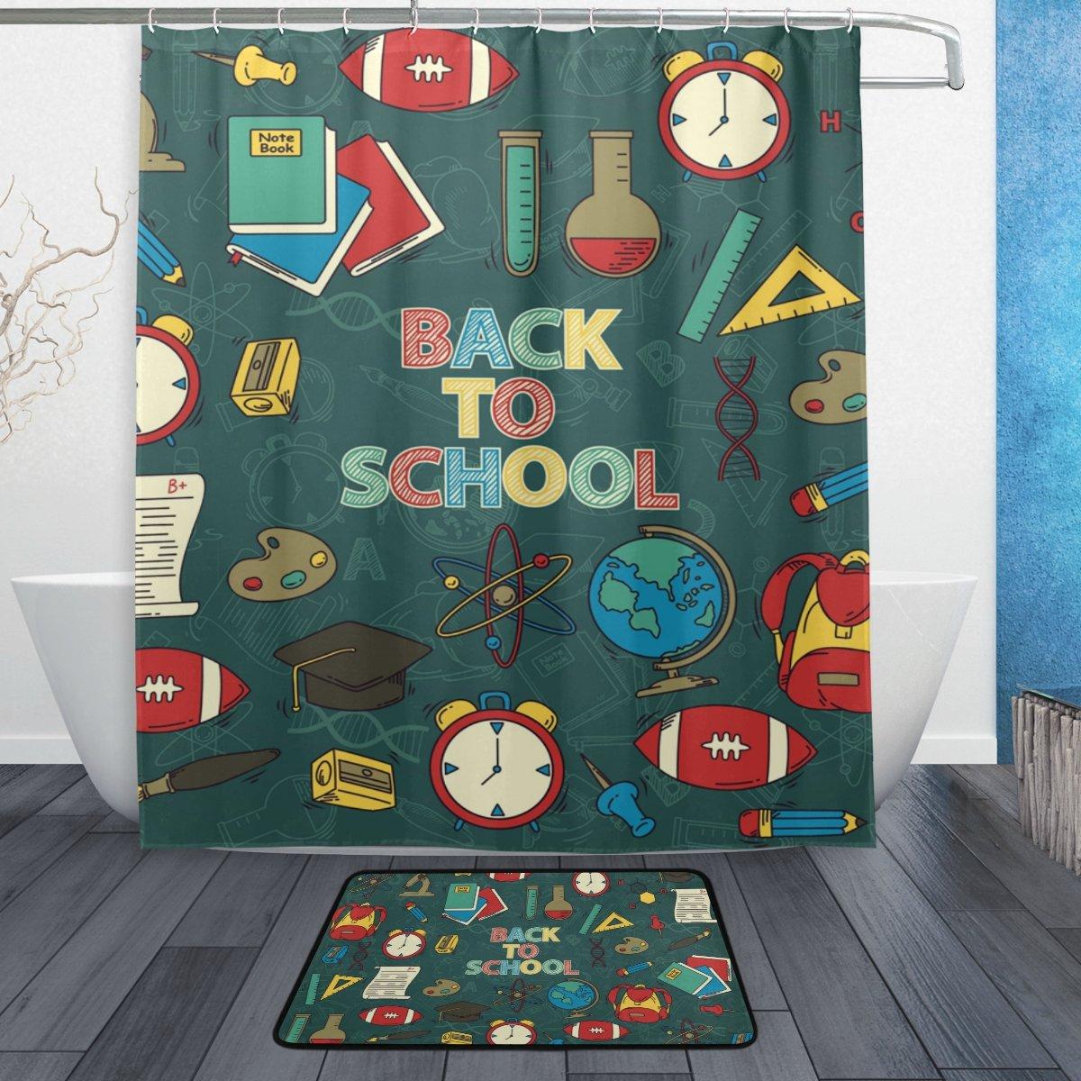 Cooper girl Back To School Item Waterproof Shower Curtain and Doormat Bath Floor Mat Sets