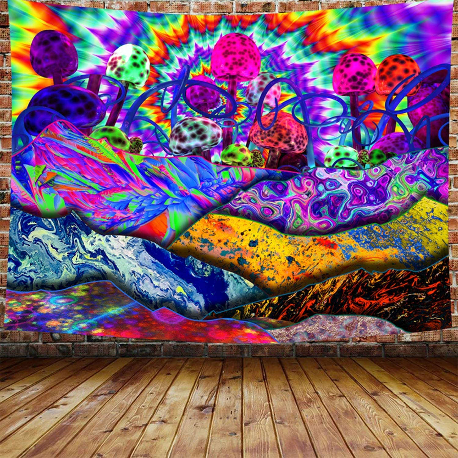 Trippy Tapestry Psychedelic Mountain - Magic Mushroom Wall Hanging Multiple Colorful Hippie Tapestries Art Window Treatments Valance Bedroom Decor Living Room Door Curtain Balcony Sheer Room Divider