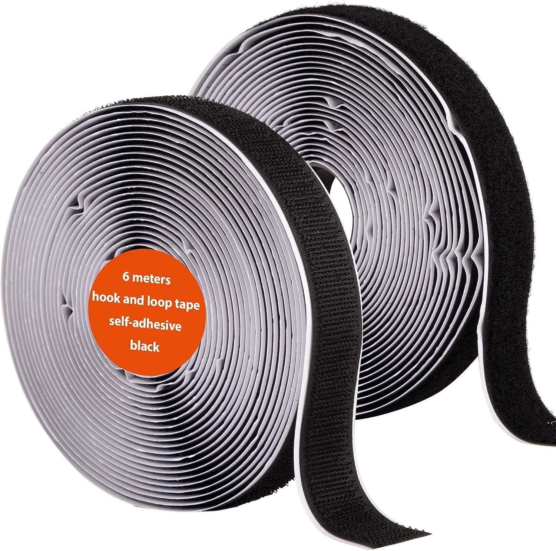 inkl au/ßen f/ür alle sauberen Oberfl/ächen Kunststoff Holz Porzellan ECENCE Klettband selbstklebend Schwarz 6m Lineal-Druckband in cm f/ür einfachen Zuschnitt Hakenband innen