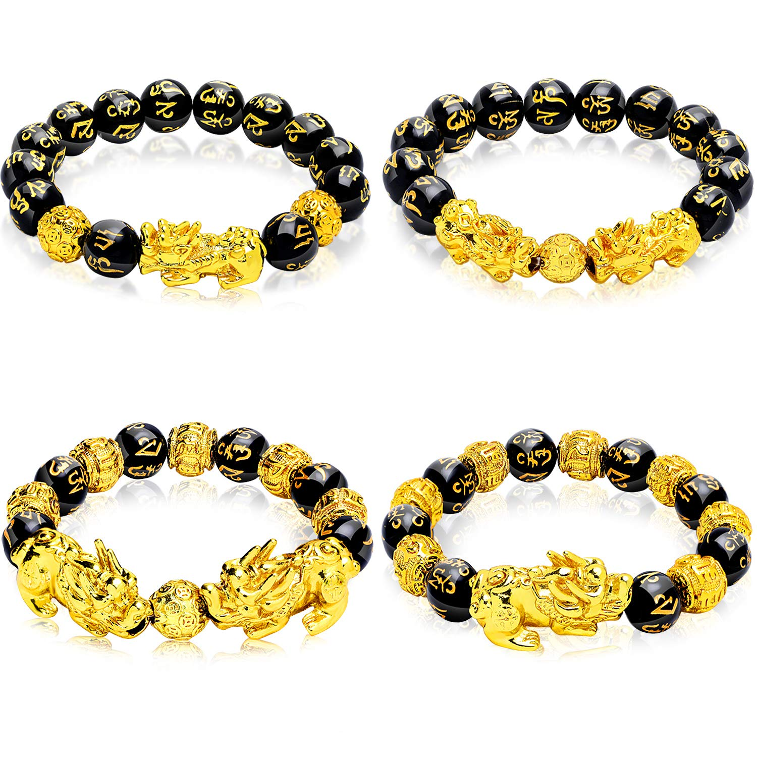 Hicarer 4 Pieces Feng Shui Bracelets Mantra Amulet Bead Bracelets with Gold Plated Pi Xiu/Pi Yao and Copper Coins Bead Bracelelts for Good Luck Wealth