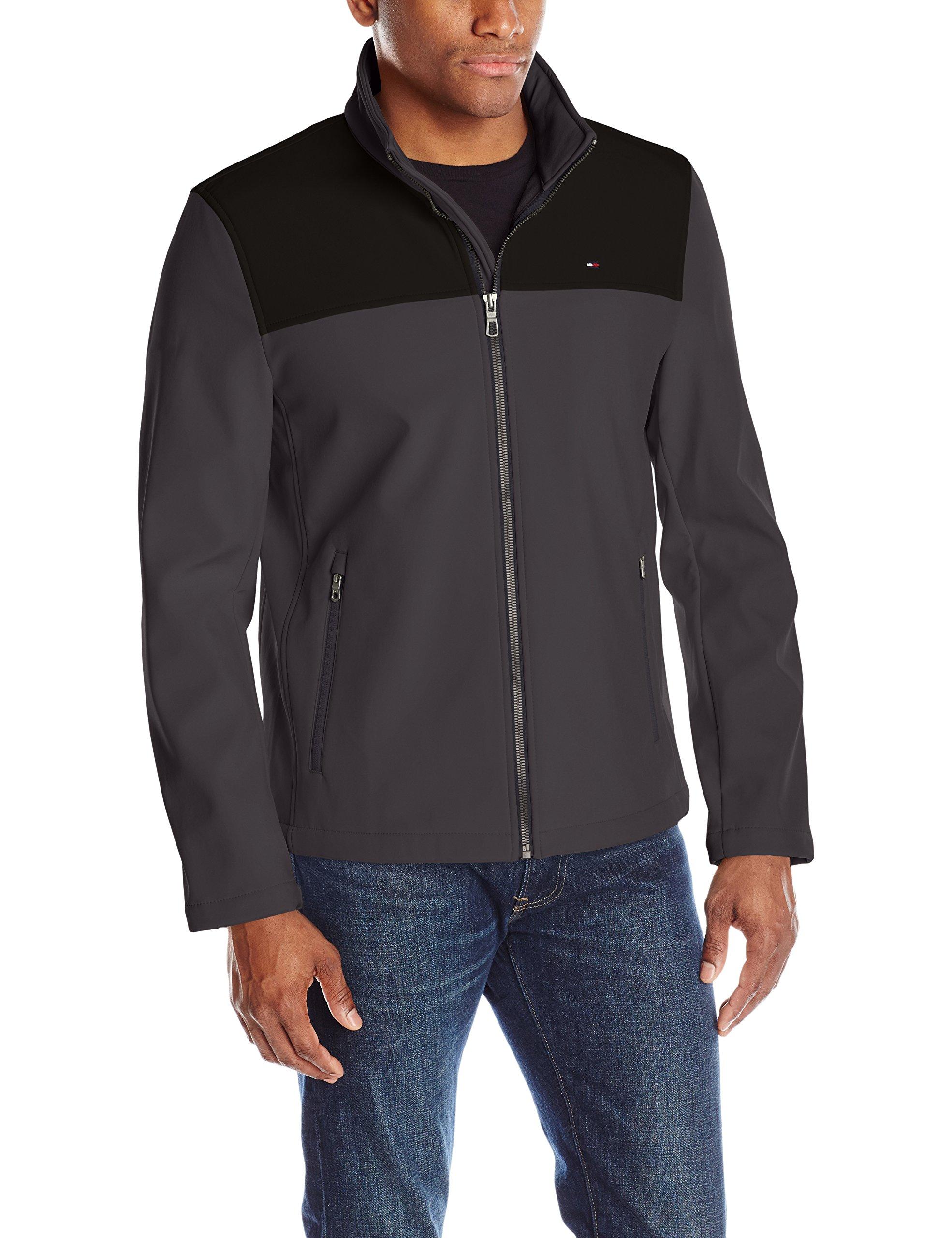 Tommy Hilfiger Men's Classic Soft Shell Jacket (Regular & Big-Tall Sizes), charcoal/black, Medium by Tommy Hilfiger