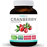 Organic Cranberry Concentrate - 25,000mg of Fresh Cranberries (Equivalent) For Kidney Cleanse & Urinary Tract Health - UTI Support Vitamins - Fruit 50:1 Extract Supplement - 60 Vegan Capsules No Pills