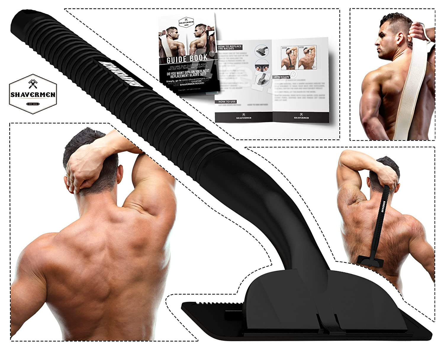 Back Shaver Razor for Men by Shavermen Back Hair Body Groomer Trimmer For Mens Do It Yourself Waterprooof Bodygroom . Guide Book and Bonus Back Scrubber included