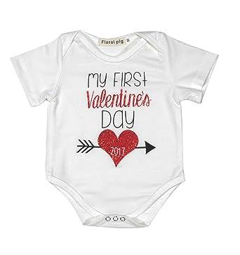 fe1da8921aa2 Amazon.com  Newborn Baby Boys Girls First Valentine s Day Short ...