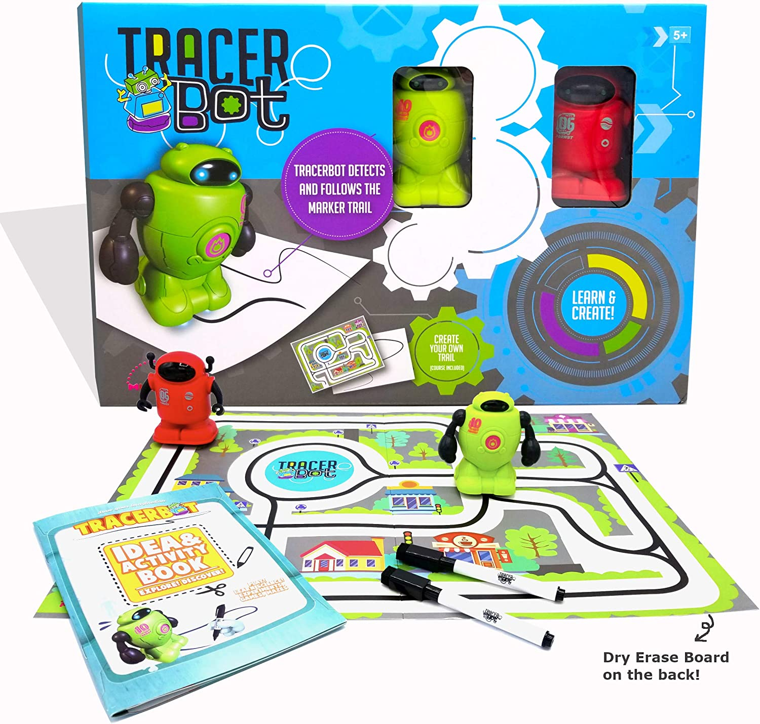 MUKIKIM Tracerbot Set (2 Robot Set) – Mini Inductive Robot That Follows The Black Line You Draw. Fun, Educational, & Interactive Stem Toy! Includes Trail Map, Dry Erase Board, & Playbook