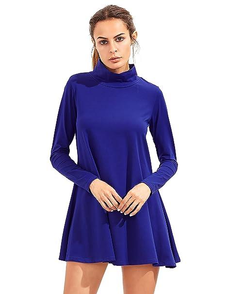 Shein - Vestido - Trapecio - Manga Larga - para Mujer Azul Azul Real Large