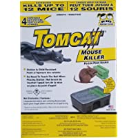 Tomcat Mouse Killer, 4-Pack (Kid Resistant Disposable Mouse Bait Station)