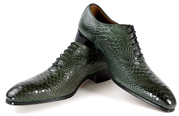ceeee1fc29cae IvanTroy George Green Classic Crocodile Embossed Handmade Men Italian  Leather Dress Shoes/Oxford Shoes/Made in Italy
