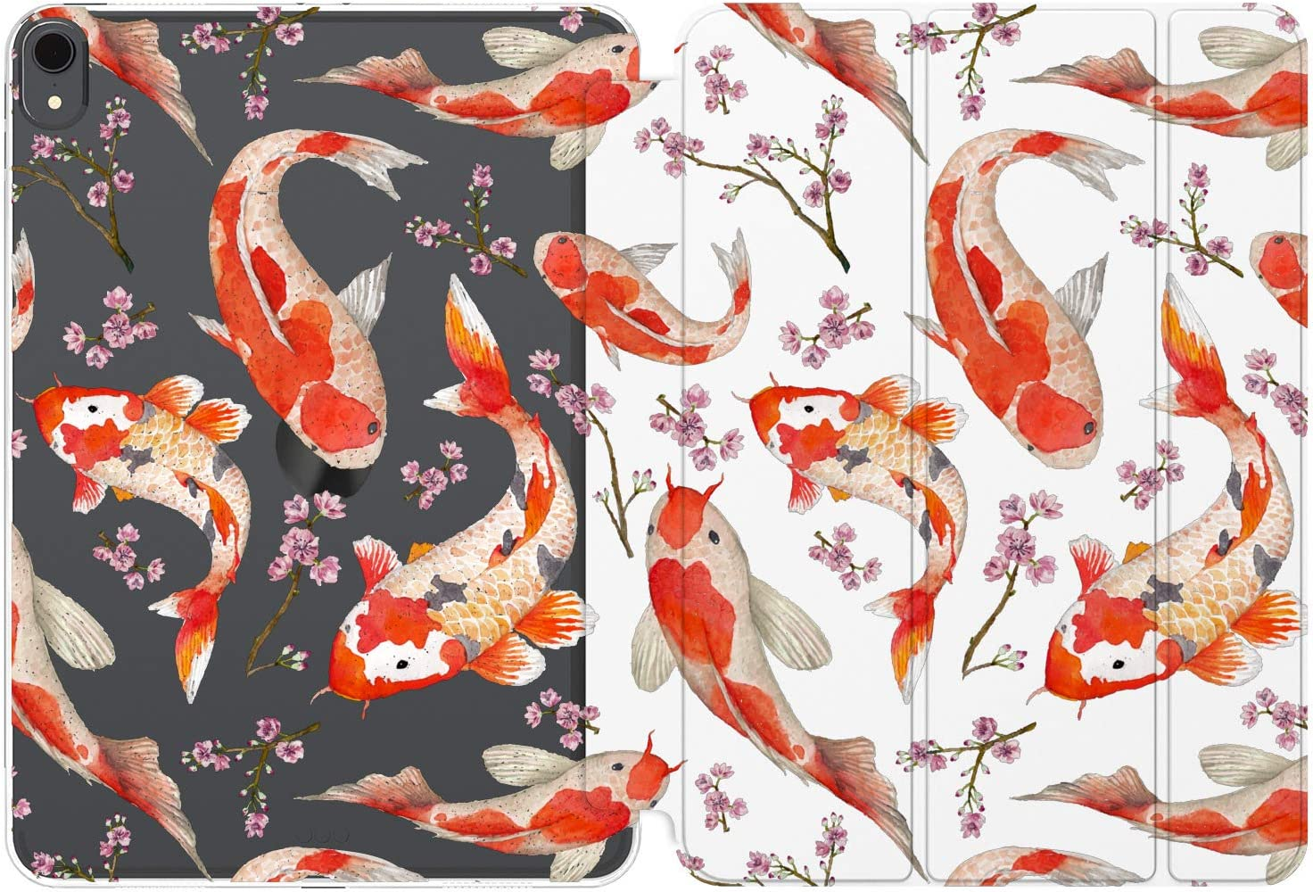 Cavka Case for Apple iPad 10.2 8th Gen 12.9 Pro 11 10.5 9.7 Air 3 Mini 5 4 3 2 1 2019/18 Women Red Girly Magnetic Closure Pond Pattern Sakura Smart Cover Koi Fish Animal Japanese Kawaii