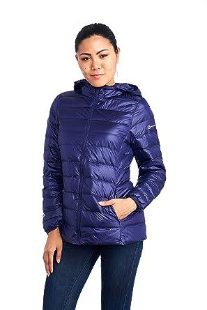 834aef437d7 alpine swiss Eva Womens Down Jacket Hooded Puffer Coat Packable Insulation  & Light NVY LRG