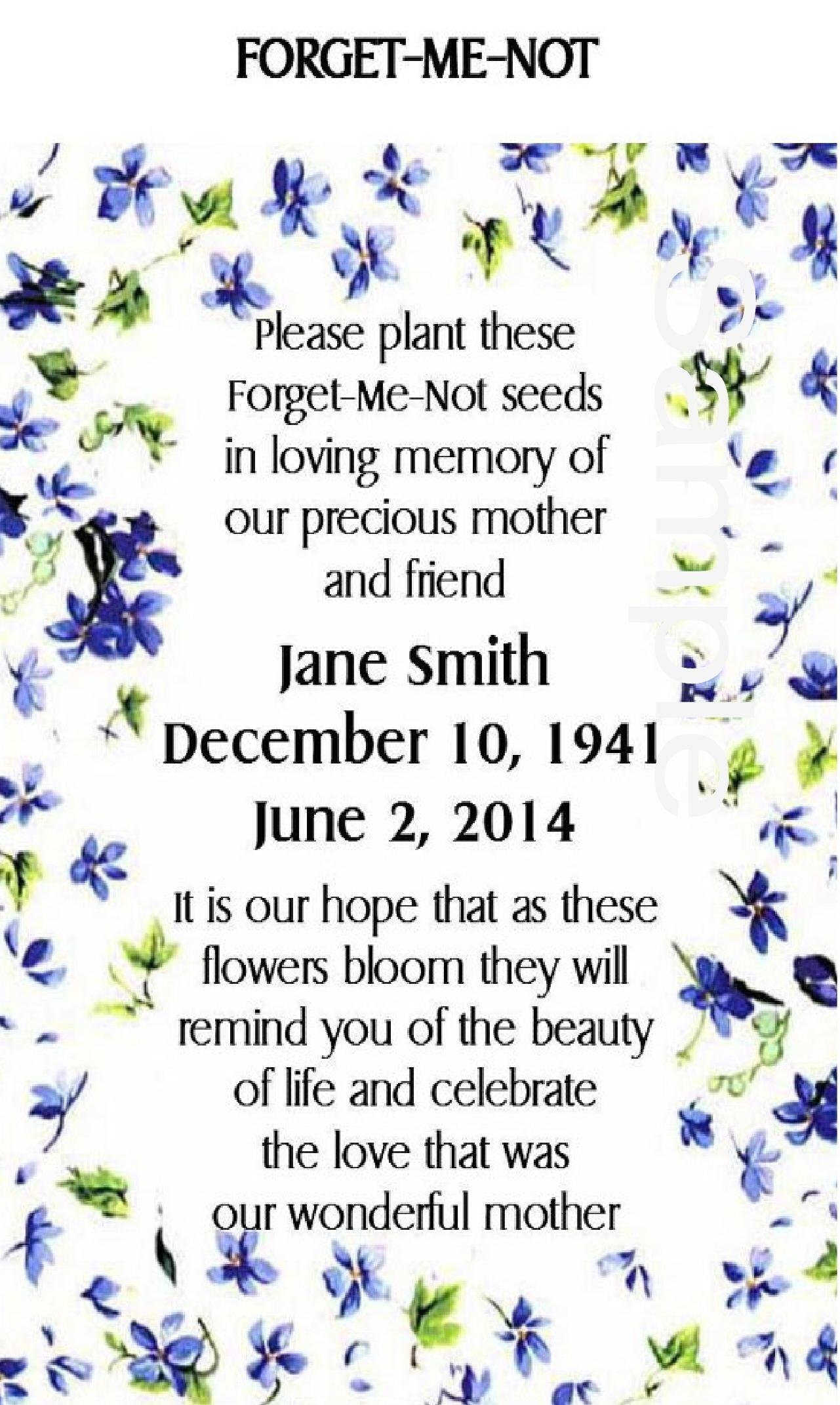 Memorial Funeral Forget-Me-Not Seed Packets by Partyfavorsforall Handmade