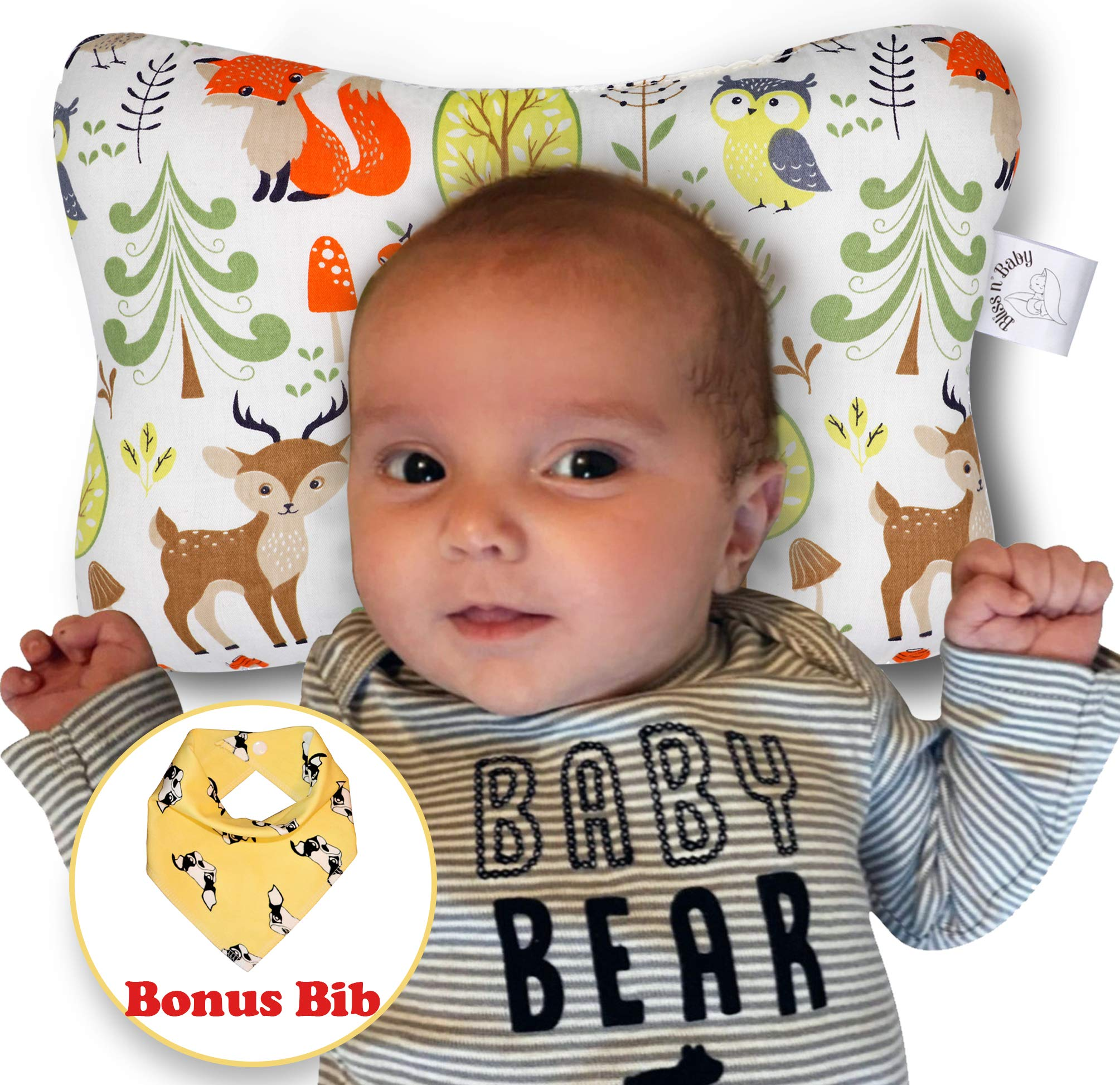 Baby Head Shaping Pillow Bib Shower Gift Set 3D Breathable Air Mesh Neck Support Machine Washable /& Dry-able Flat Head /& Reflux Prevention for Newborn Infants Organic Cotton Hypoallergenic