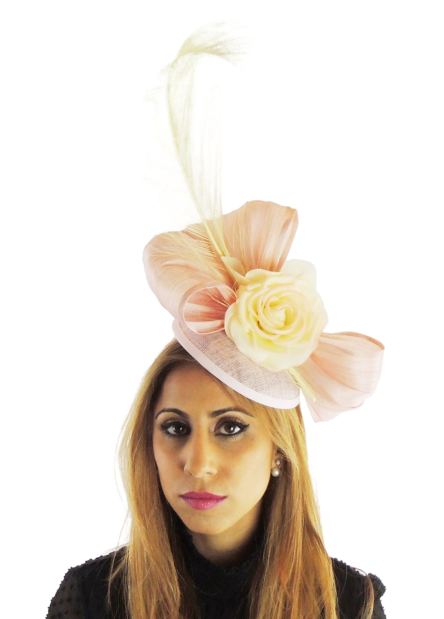 Hats By Cressida Silk Sinamay & Silk Flower Elegant Ladies Ascot Wedding Fascinator Hat Candy Pink & Yellow by Hats By Cressida