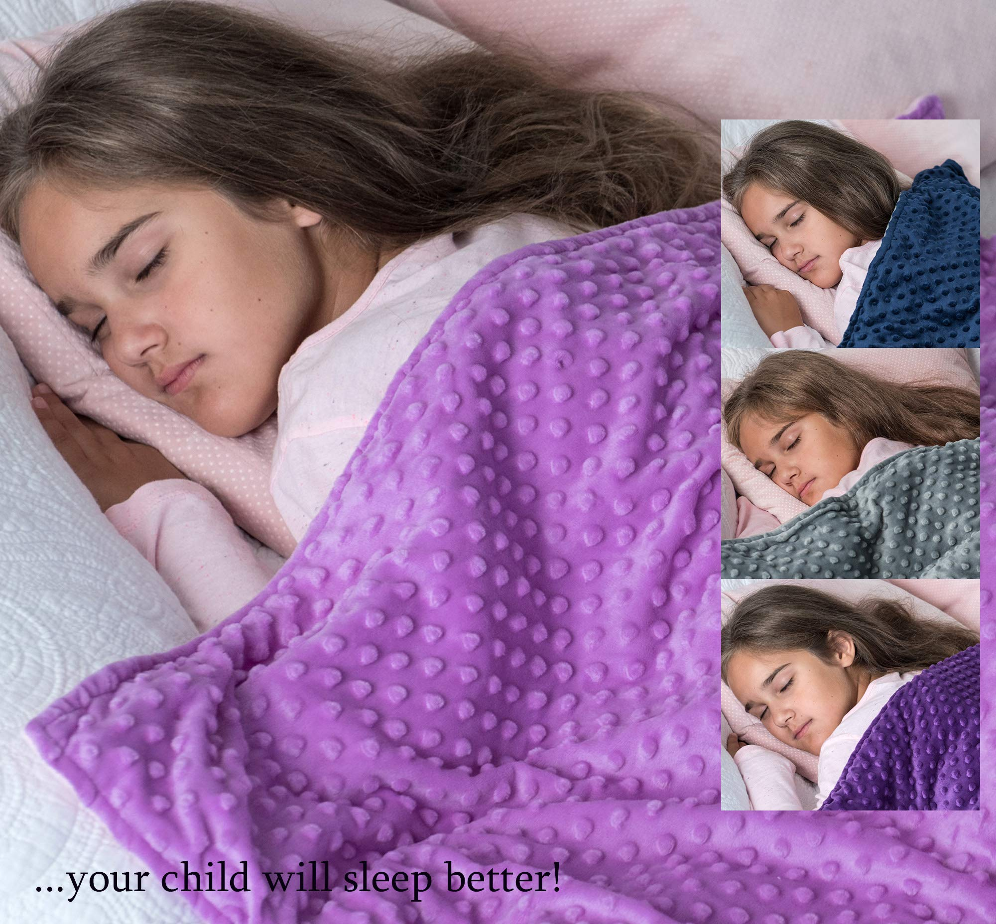 5 lbs Weighted Blanket with Dot Minky Cover for Kids (Inner Light Violet/Cover Violet & Pink, 36''x48'' 5 lbs) by Loved Blanket