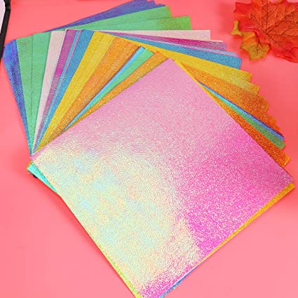 15 X15cm Milisten 100pcs Holographic Glitter Paper Cardstock Paper Origami Paper Sheet for Handcraft Scrapbooking DIY Projects Gift Box