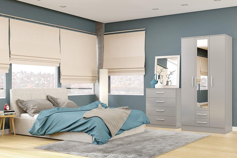 Black High-Gloss Birlea Lynx 2-Door 2-Drawer Wardrobe